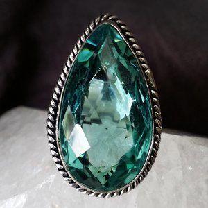 Green Aqua Beryl Stone Silver Ring